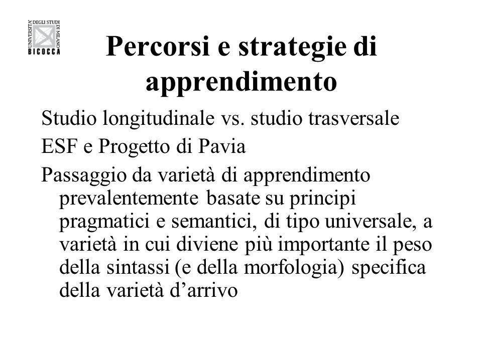 Percorsi evolutivi in italiano L2 Transfer negativo Fase pragmatica > fase lessicale > fase (proto)morfologica > fase morfosintattica La sintassi La negazione No > non > niente > nessuno, mai > neanche > mica