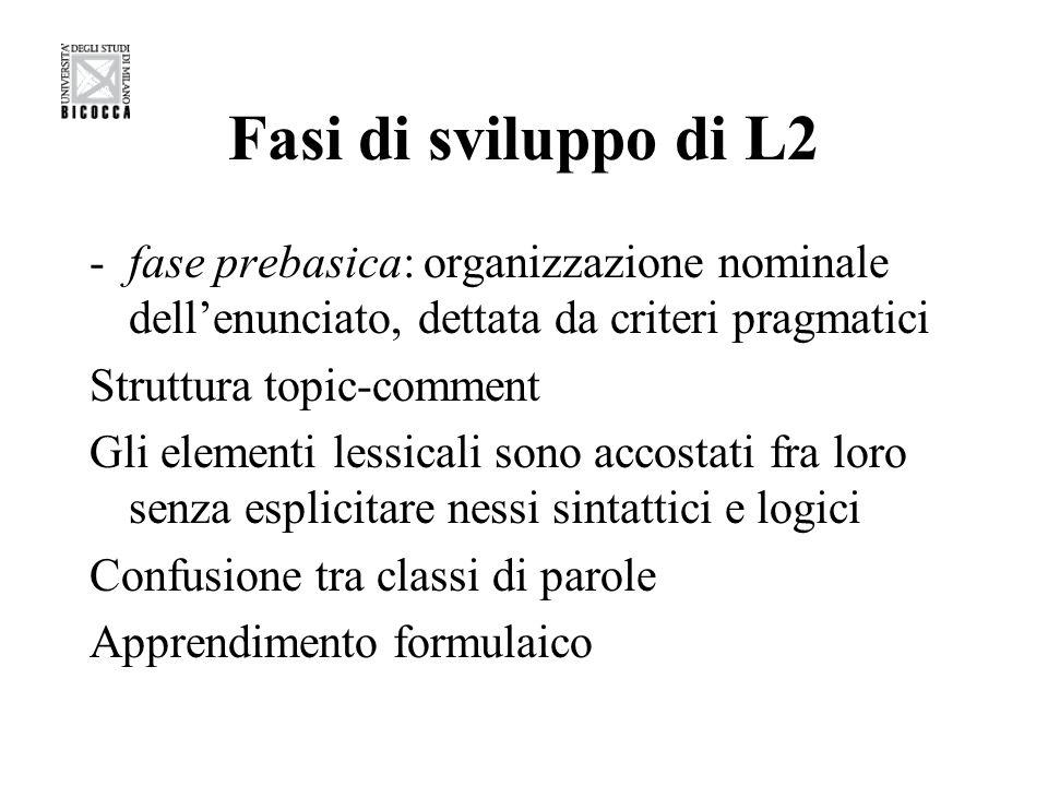 Fasi di sviluppo di L2 -fase basica: apprendente più autonomo dal punto di vista comunicativo Verbo come nucleo della frase, anche se in una forma non finita Scarsità o assenza di parole-funzione Forme non marcate Principio focus-last Enunciati giustapposti o coordinati