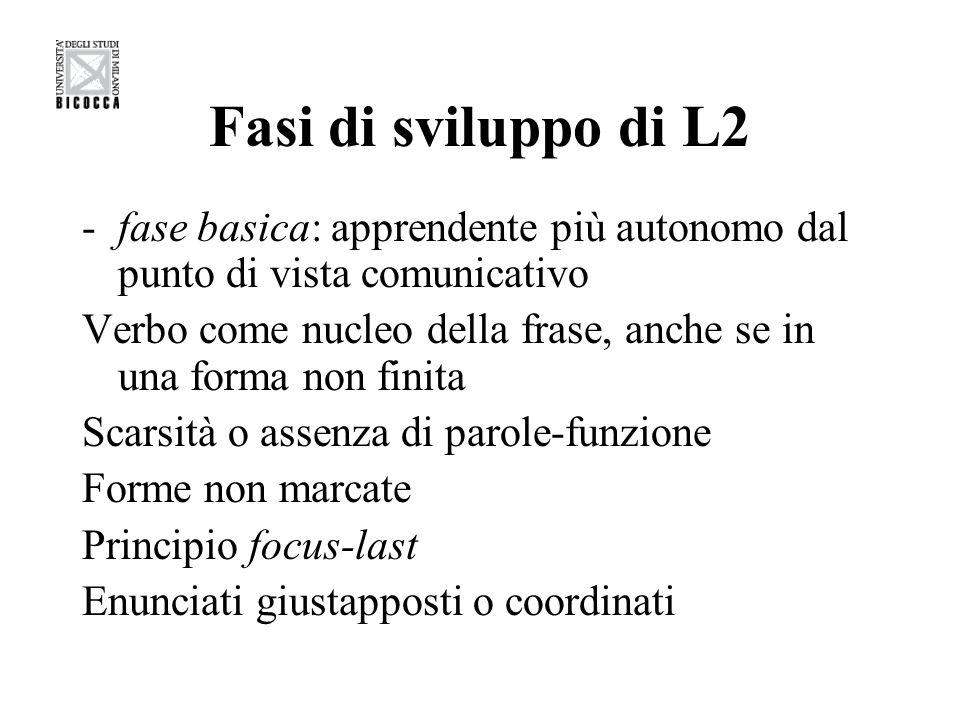 Fasi di sviluppo di L2 -fase basica: apprendente più autonomo dal punto di vista comunicativo Verbo come nucleo della frase, anche se in una forma non