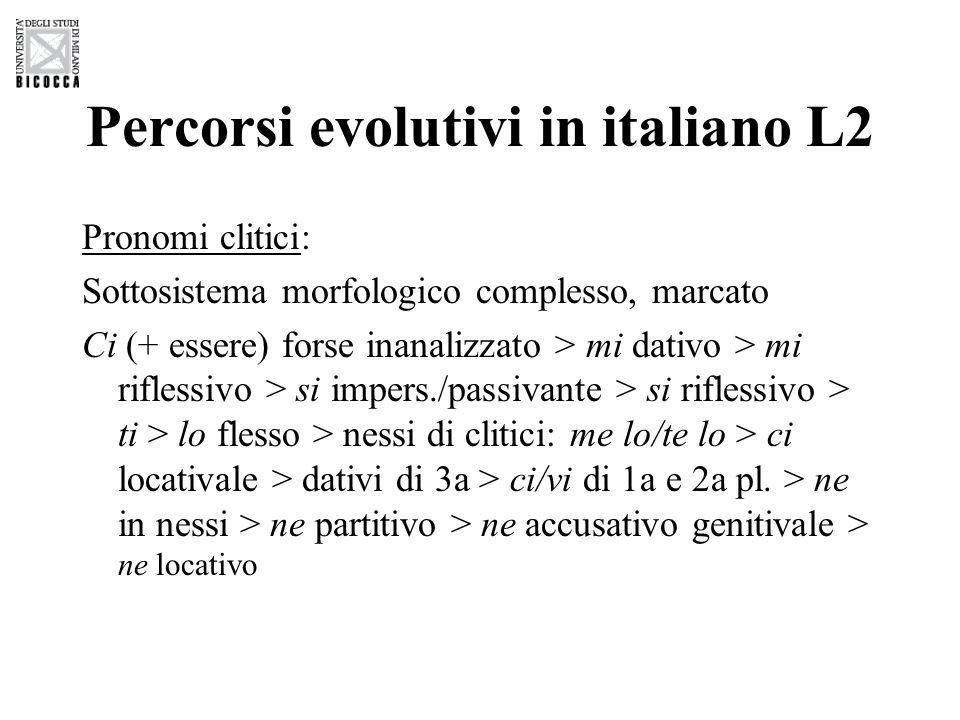 Percorsi evolutivi in italiano L2 Temporalità: Nelle prime fasi prive di morfologia la temporalità viene espressa con mezzi pragmatico-discorsivi o lessicali Varietà post-basica: Presente (e infinito) > (ausiliare +) participio passato > imperfetto > futuro > condizionale > congiuntivo Aspetto > tempo > modo