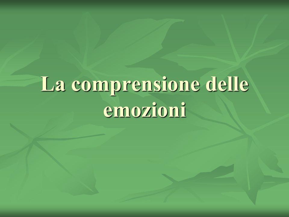 La comprensione delle emozioni: una competenza complessa La comprensione delle emozioni riguarda la natura, le cause e la possibilità di gestire le emozioni.