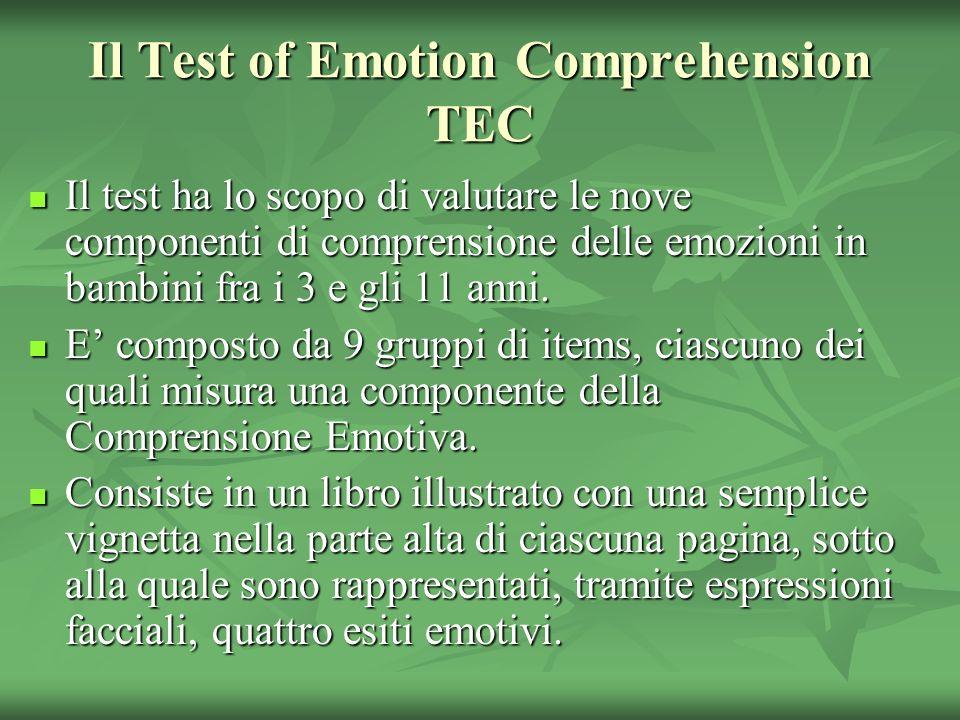 Il Test of Emotion Comprehension TEC Il test ha lo scopo di valutare le nove componenti di comprensione delle emozioni in bambini fra i 3 e gli 11 ann