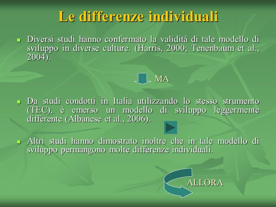 Le differenze individuali Diversi studi hanno confermato la validità di tale modello di sviluppo in diverse culture. (Harris, 2000; Tenenbaum et al.,