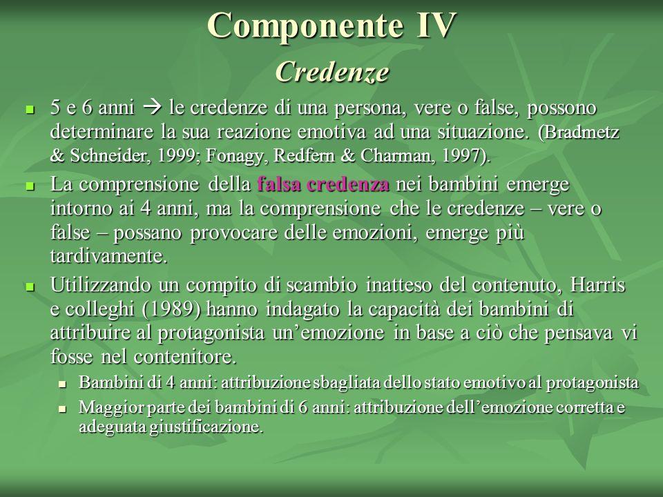 Componente IV Credenze 5 e 6 anni le credenze di una persona, vere o false, possono determinare la sua reazione emotiva ad una situazione. (Bradmetz &