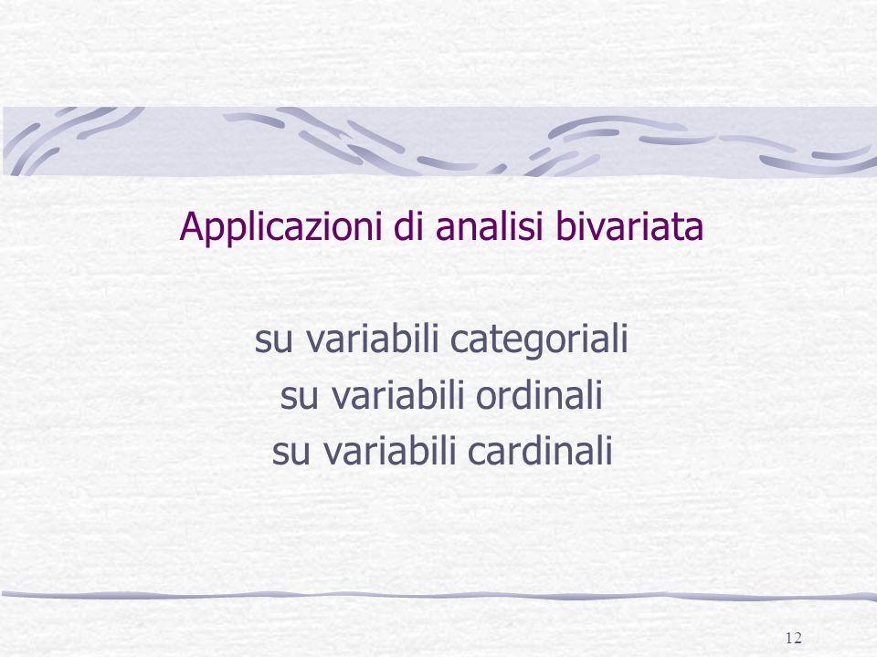 12 Applicazioni di analisi bivariata su variabili categoriali su variabili ordinali su variabili cardinali