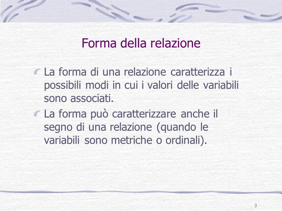 3 Forma della relazione La forma di una relazione caratterizza i possibili modi in cui i valori delle variabili sono associati. La forma può caratteri