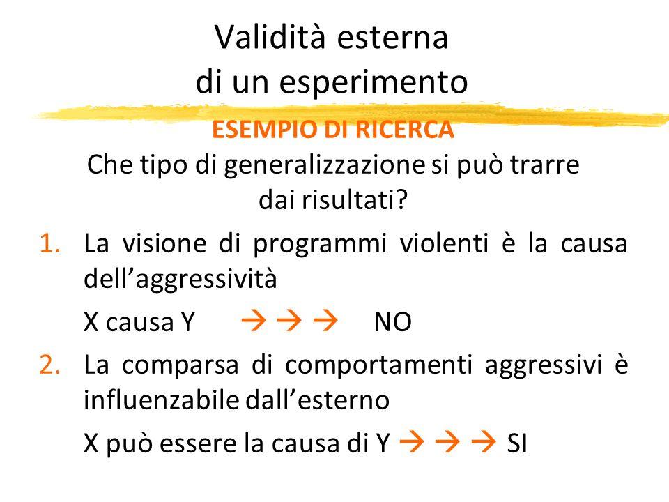 Validità esterna di un esperimento ESEMPIO DI RICERCA Che tipo di generalizzazione si può trarre dai risultati? 1.La visione di programmi violenti è l