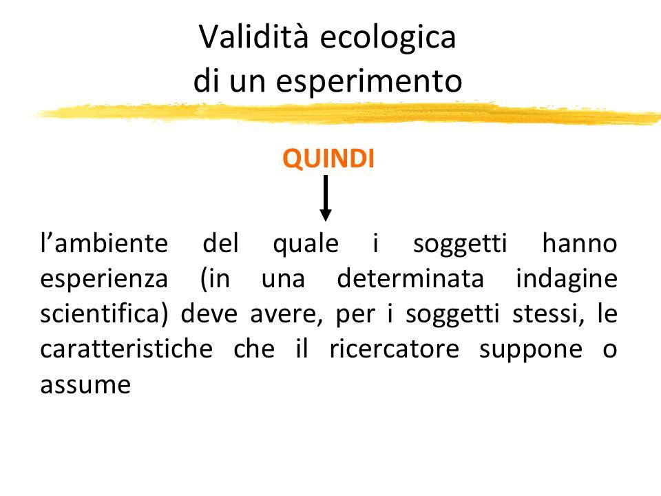 Validità ecologica di un esperimento QUINDI lambiente del quale i soggetti hanno esperienza (in una determinata indagine scientifica) deve avere, per