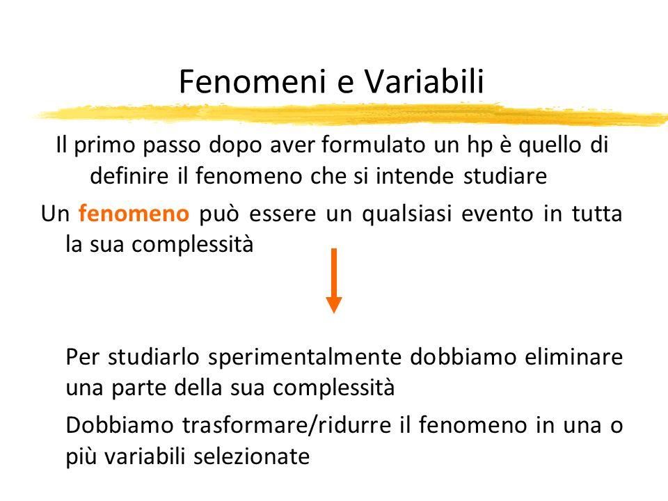 Fenomeni e Variabili Il primo passo dopo aver formulato un hp è quello di definire il fenomeno che si intende studiare Un fenomeno può essere un quals