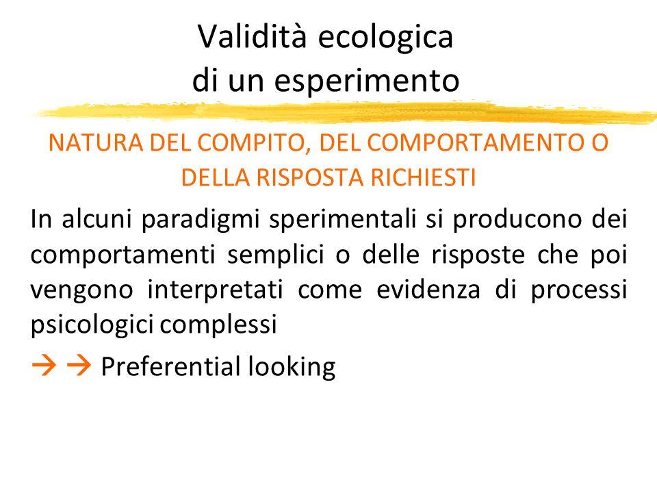 Validità ecologica di un esperimento NATURA DEL COMPITO, DEL COMPORTAMENTO O DELLA RISPOSTA RICHIESTI In alcuni paradigmi sperimentali si producono de