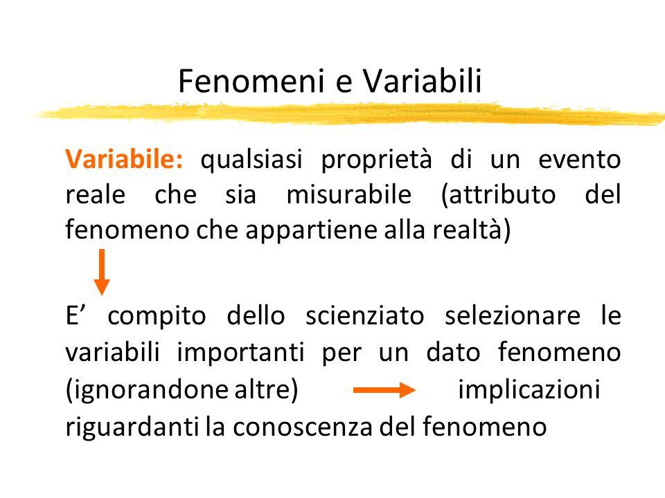 Fenomeni e Variabili Variabile: qualsiasi proprietà di un evento reale che sia misurabile (attributo del fenomeno che appartiene alla realtà) E compit