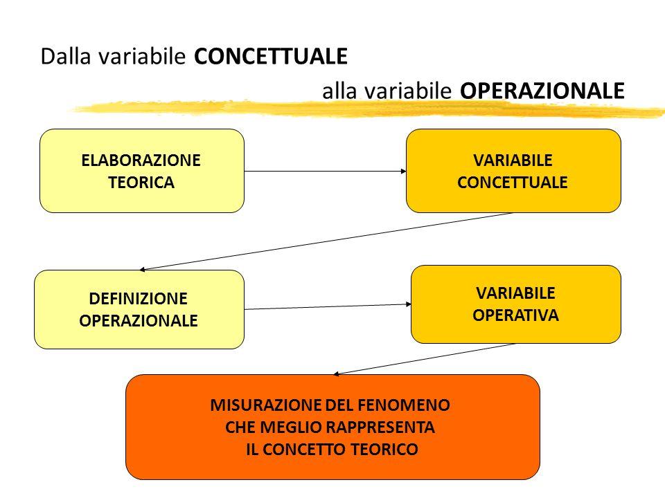 Dalla variabile CONCETTUALE alla variabile OPERAZIONALE ELABORAZIONE TEORICA DEFINIZIONE OPERAZIONALE VARIABILE CONCETTUALE VARIABILE OPERATIVA MISURA