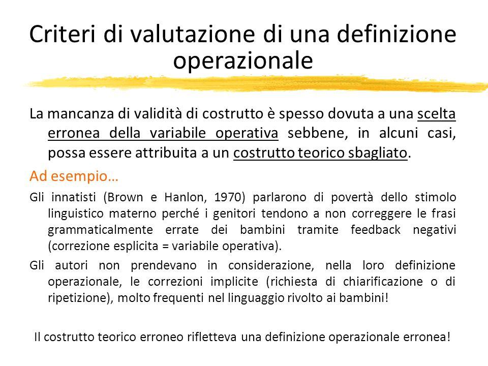 Criteri di valutazione di una definizione operazionale La mancanza di validità di costrutto è spesso dovuta a una scelta erronea della variabile opera