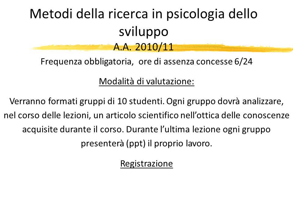 Metodi della ricerca in psicologia dello sviluppo A.A. 2010/11 Frequenza obbligatoria, ore di assenza concesse 6/24 Modalità di valutazione: Verranno