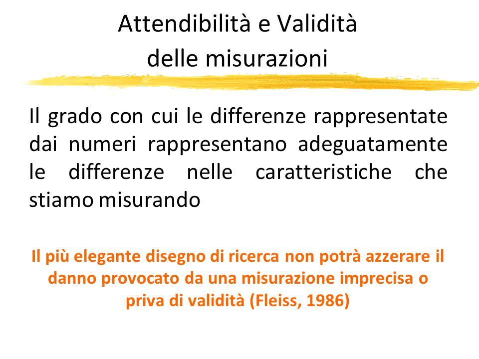 Attendibilità e Validità delle misurazioni Il grado con cui le differenze rappresentate dai numeri rappresentano adeguatamente le differenze nelle car