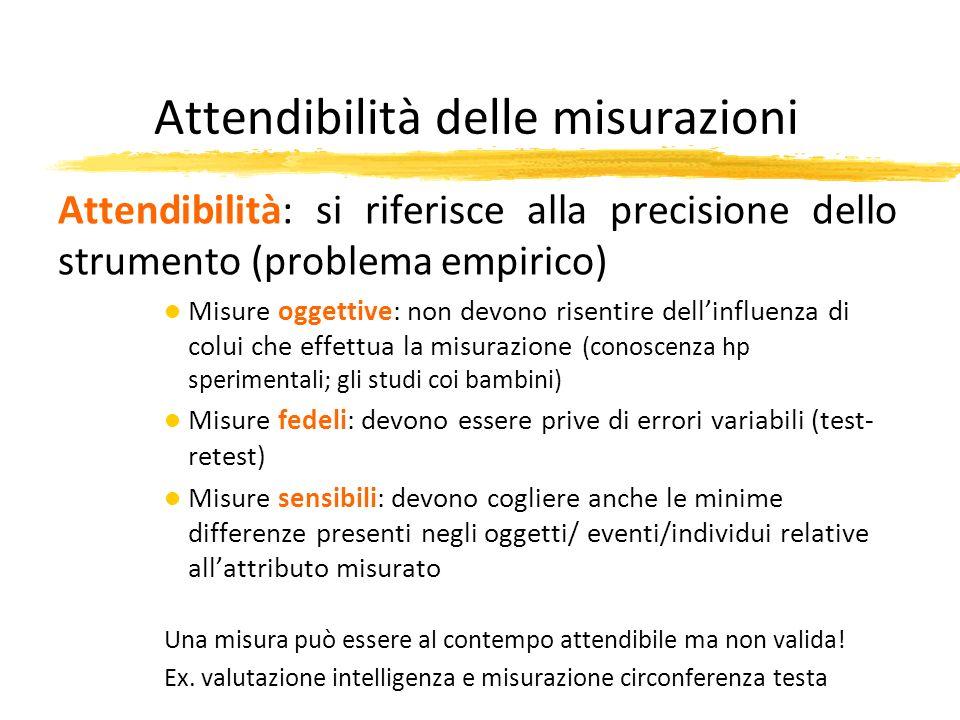 Attendibilità delle misurazioni Attendibilità: si riferisce alla precisione dello strumento (problema empirico) l Misure oggettive: non devono risenti