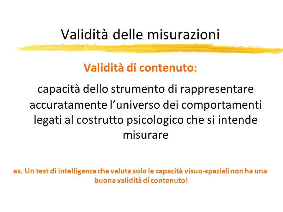 Validità delle misurazioni Validità di contenuto: capacità dello strumento di rappresentare accuratamente luniverso dei comportamenti legati al costru