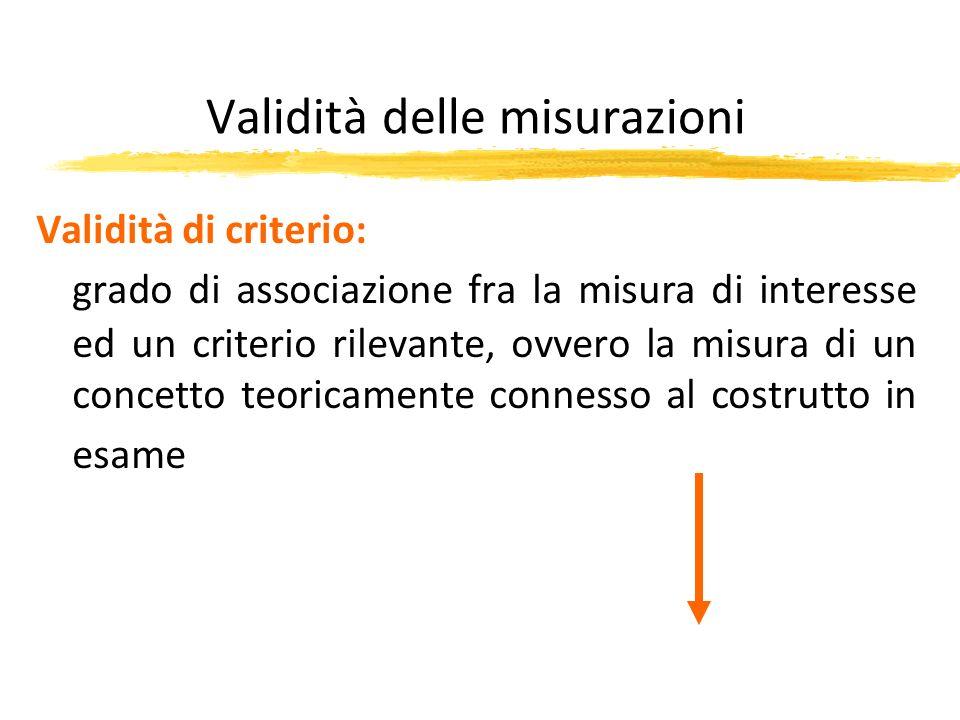 Validità delle misurazioni Validità di criterio: grado di associazione fra la misura di interesse ed un criterio rilevante, ovvero la misura di un con