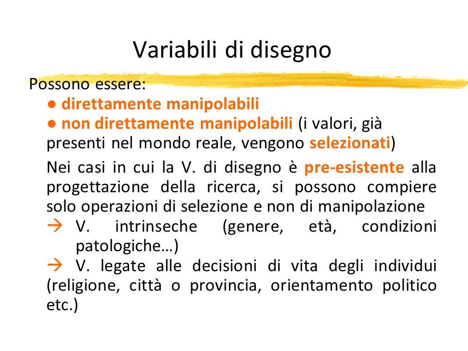 Variabili di disegno Possono essere: direttamente manipolabili non direttamente manipolabili (i valori, già presenti nel mondo reale, vengono selezion