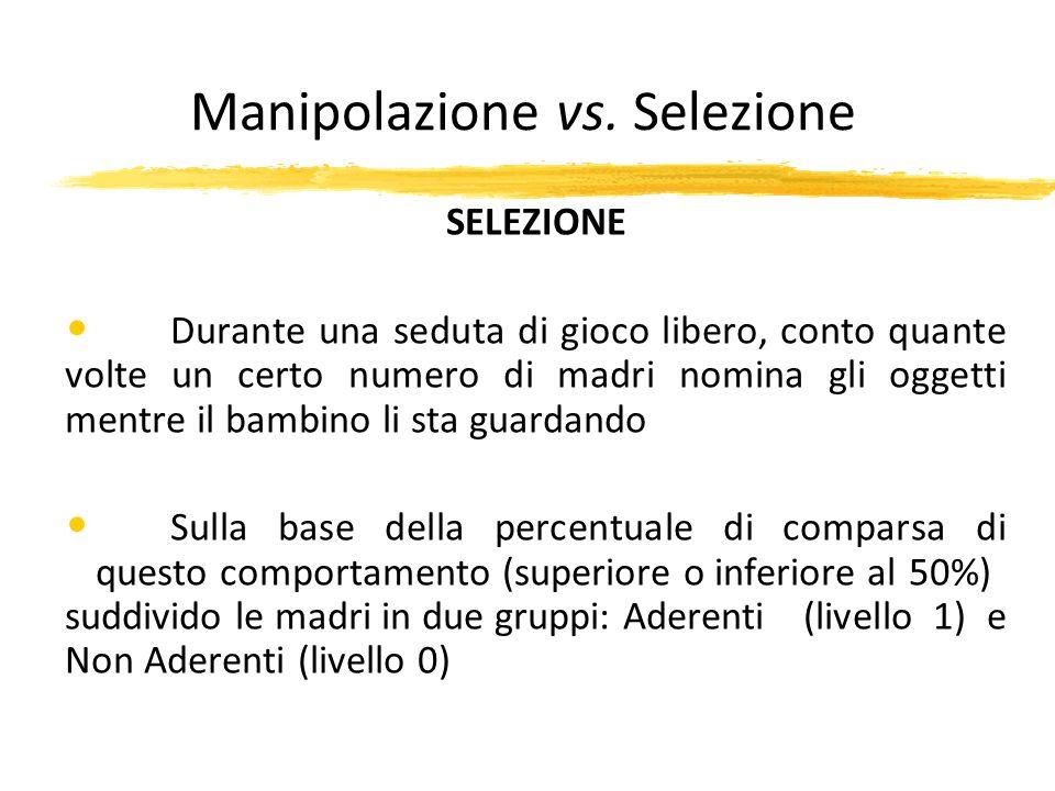 Manipolazione vs. Selezione SELEZIONE Durante una seduta di gioco libero, conto quante volte un certo numero di madri nomina gli oggetti mentre il bam
