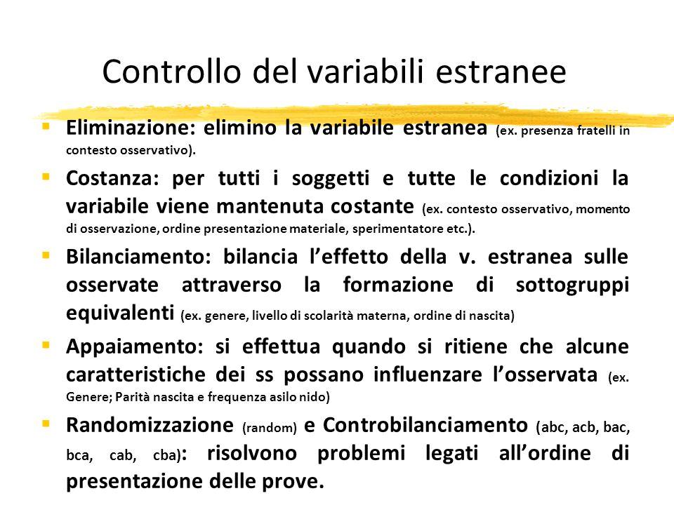 Controllo del variabili estranee Eliminazione: elimino la variabile estranea (ex. presenza fratelli in contesto osservativo). Costanza: per tutti i so