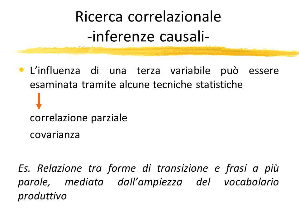 Ricerca correlazionale -inferenze causali- Linfluenza di una terza variabile può essere esaminata tramite alcune tecniche statistiche correlazione par