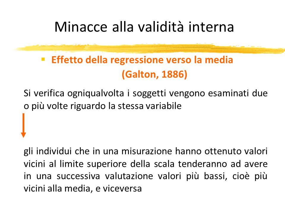 Minacce alla validità interna Effetto della regressione verso la media (Galton, 1886) Si verifica ogniqualvolta i soggetti vengono esaminati due o più