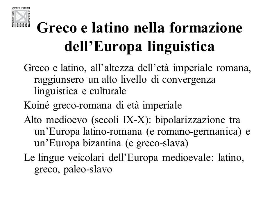 Greco e latino nella formazione dellEuropa linguistica Greco e latino, allaltezza delletà imperiale romana, raggiunsero un alto livello di convergenza