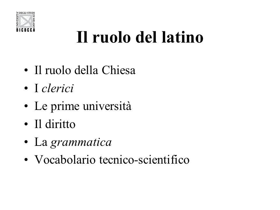 Il ruolo del latino Il ruolo della Chiesa I clerici Le prime università Il diritto La grammatica Vocabolario tecnico-scientifico