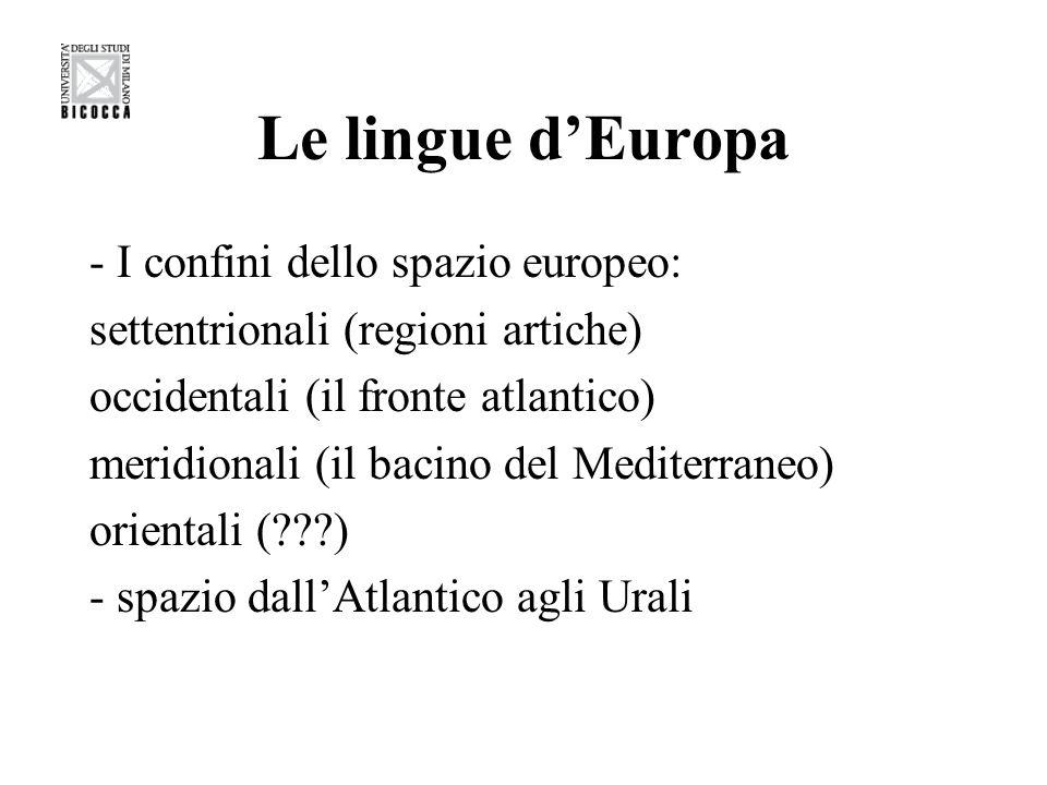Le lingue dEuropa - I confini dello spazio europeo: settentrionali (regioni artiche) occidentali (il fronte atlantico) meridionali (il bacino del Medi