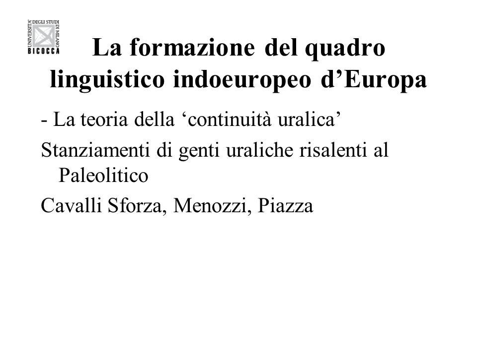 La formazione del quadro linguistico indoeuropeo dEuropa - La teoria della continuità uralica Stanziamenti di genti uraliche risalenti al Paleolitico