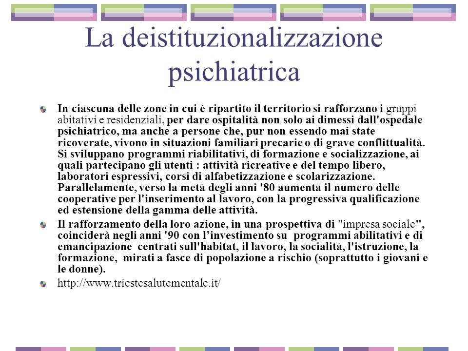 La deistituzionalizzazione psichiatrica In ciascuna delle zone in cui è ripartito il territorio si rafforzano i gruppi abitativi e residenziali, per d