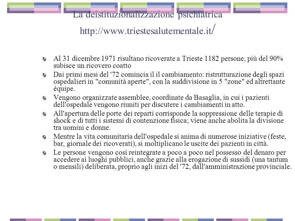 La deistituzionalizzazione psichiatrica http://www.triestesalutementale.it / Al 31 dicembre 1971 risultano ricoverate a Trieste 1182 persone, più del