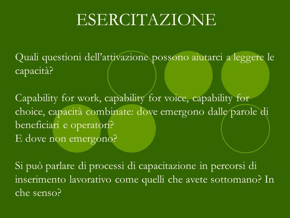 Quali questioni dellattivazione possono aiutarci a leggere le capacità? Capability for work, capability for voice, capability for choice, capacità com