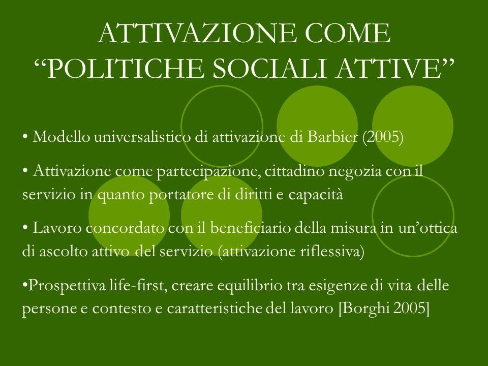 Modello universalistico di attivazione di Barbier (2005) Attivazione come partecipazione, cittadino negozia con il servizio in quanto portatore di dir