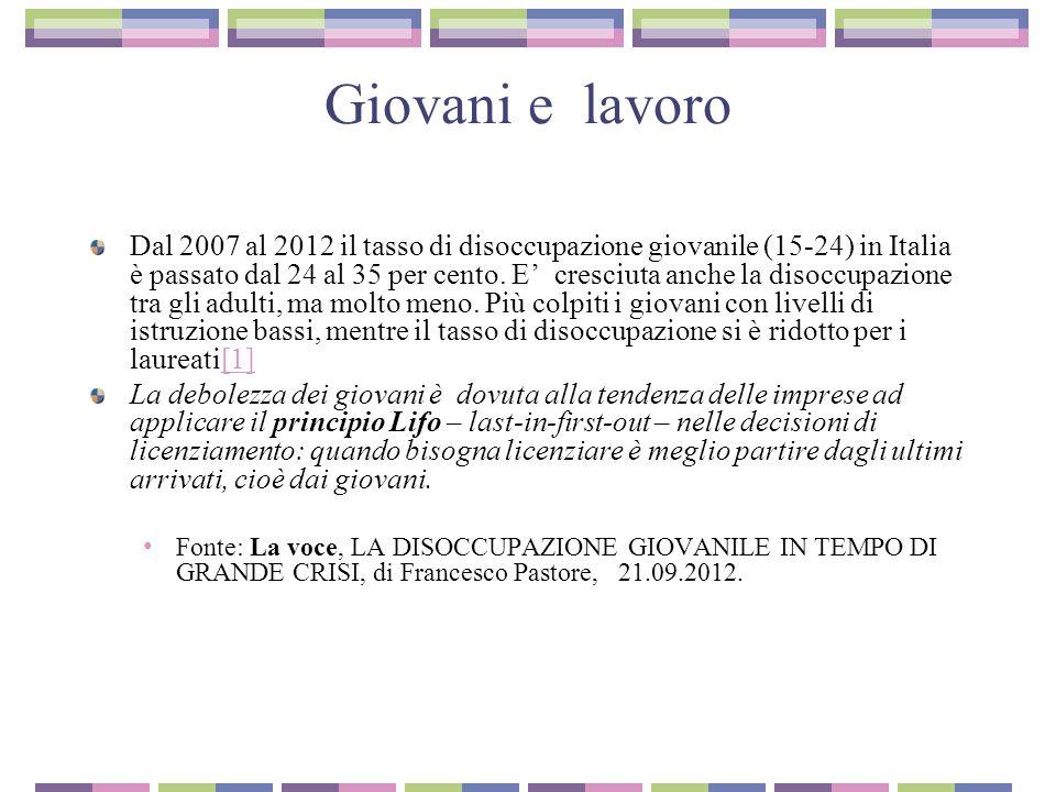 Giovani e lavoro Dal 2007 al 2012 il tasso di disoccupazione giovanile (15-24) in Italia è passato dal 24 al 35 per cento.