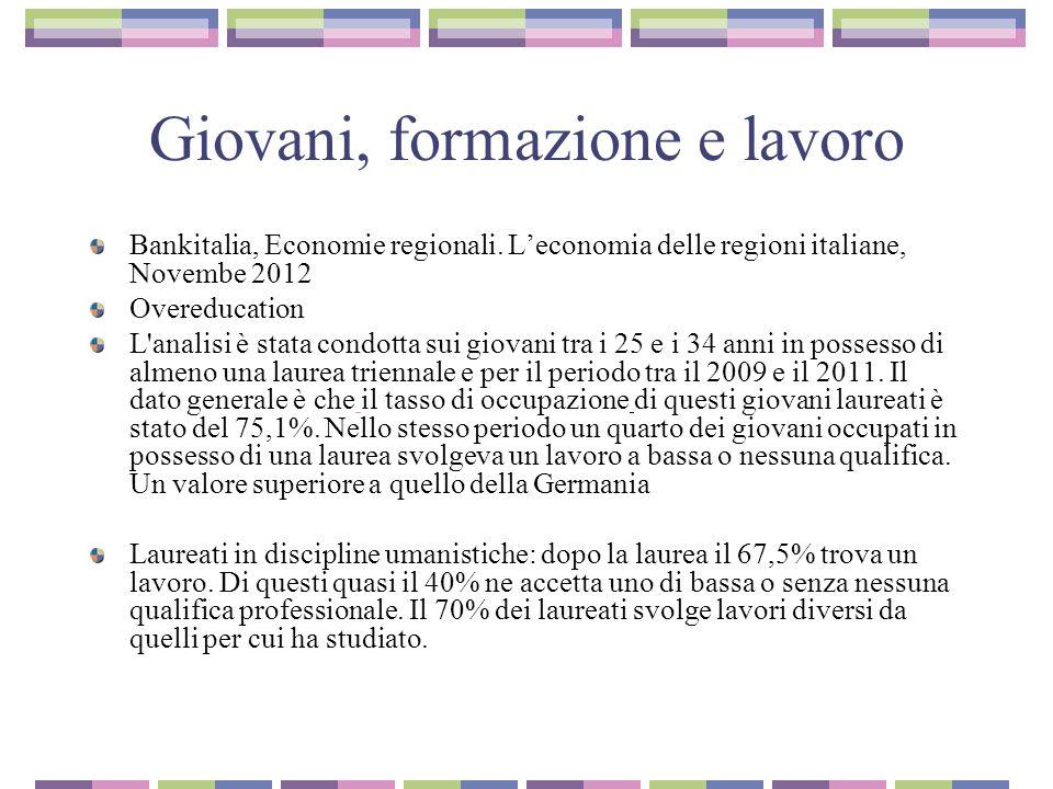 Giovani, formazione e lavoro Bankitalia, Economie regionali.