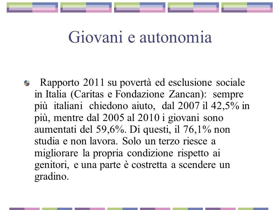 Giovani e autonomia Rapporto 2011 su povertà ed esclusione sociale in Italia (Caritas e Fondazione Zancan): sempre più italiani chiedono aiuto, dal 2007 il 42,5% in più, mentre dal 2005 al 2010 i giovani sono aumentati del 59,6%.