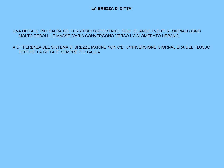 LA BREZZA DI CITTA UNA CITTA E PIU CALDA DEI TERRITORI CIRCOSTANTI.
