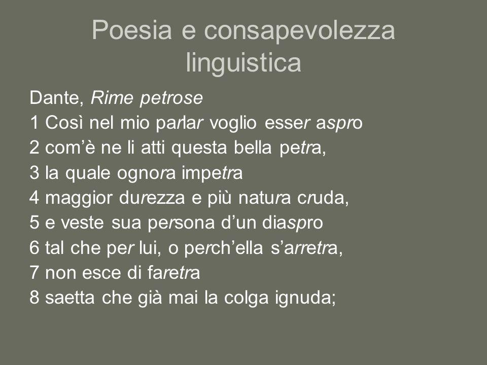 Poesia e consapevolezza linguistica Dante, Rime petrose 1 Così nel mio parlar voglio esser aspro 2 comè ne li atti questa bella petra, 3 la quale ogno