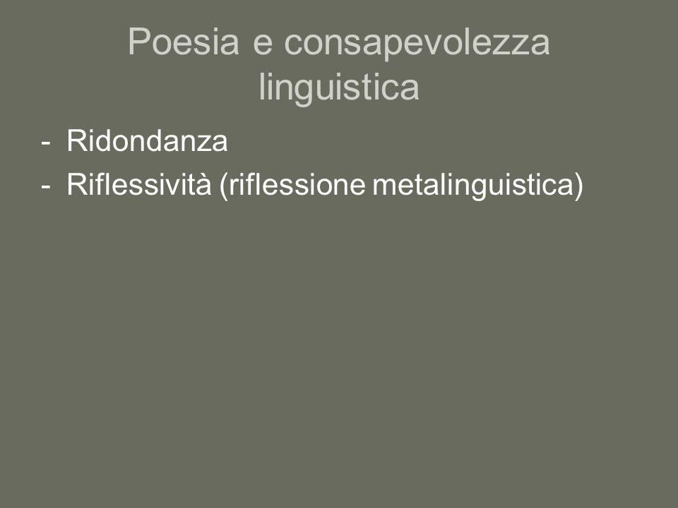 Poesia e consapevolezza linguistica -Ridondanza -Riflessività (riflessione metalinguistica)