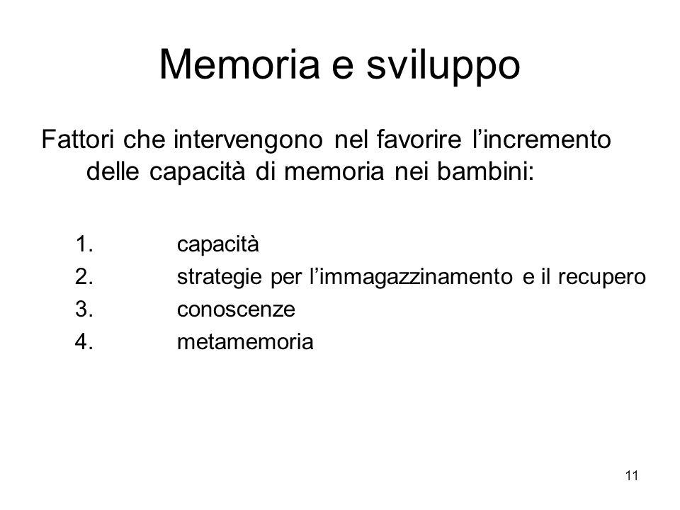 11 Memoria e sviluppo Fattori che intervengono nel favorire lincremento delle capacità di memoria nei bambini: 1.capacità 2.strategie per limmagazzina