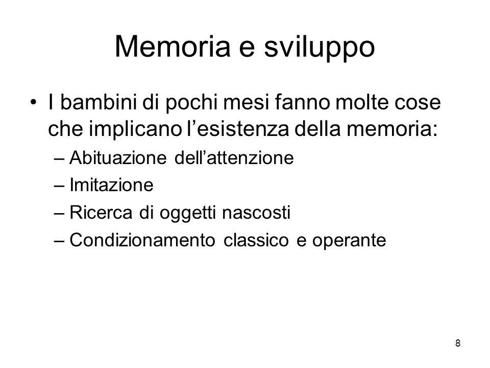 8 Memoria e sviluppo I bambini di pochi mesi fanno molte cose che implicano lesistenza della memoria: –Abituazione dellattenzione –Imitazione –Ricerca