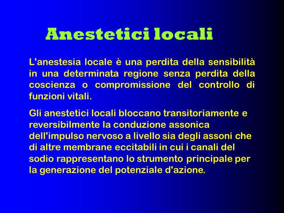 La struttura della maggior parte degli anestetici locali è caratterizzata da un GRUPPO LIPOFILO (generalmente un anello aromatico) unito ad una CATENA INTERMEDIA a cui è legato un GRUPPO IONIZZABILE (generalmente un amina terziaria).