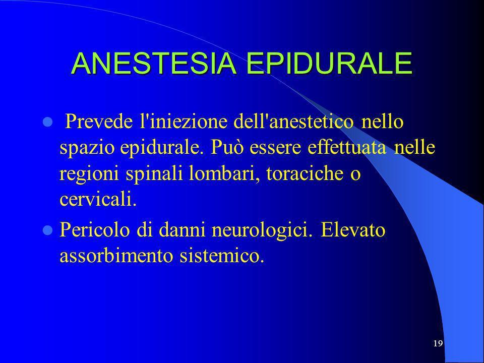 19 ANESTESIA EPIDURALE Prevede l'iniezione dell'anestetico nello spazio epidurale. Può essere effettuata nelle regioni spinali lombari, toraciche o ce