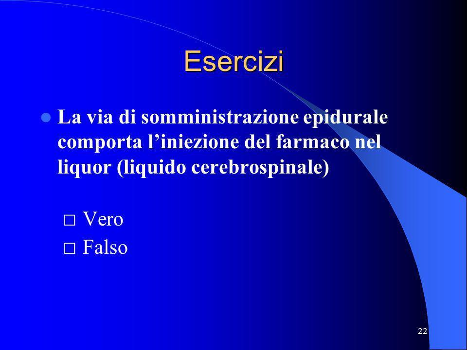 22 Esercizi La via di somministrazione epidurale comporta liniezione del farmaco nel liquor (liquido cerebrospinale) Vero Falso
