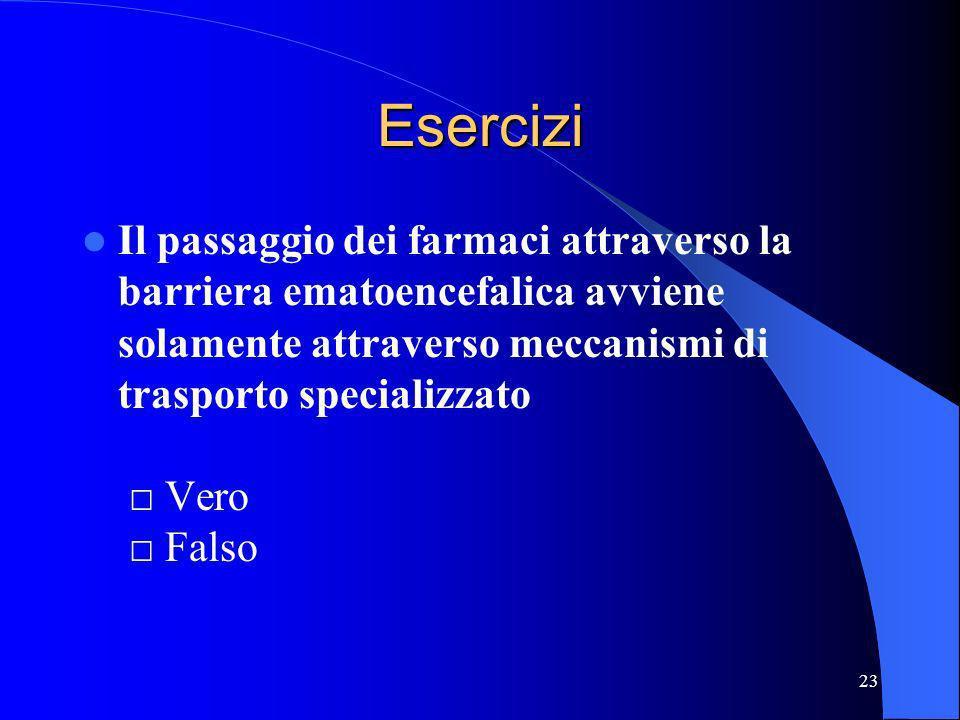 23 Esercizi Il passaggio dei farmaci attraverso la barriera ematoencefalica avviene solamente attraverso meccanismi di trasporto specializzato Vero Fa