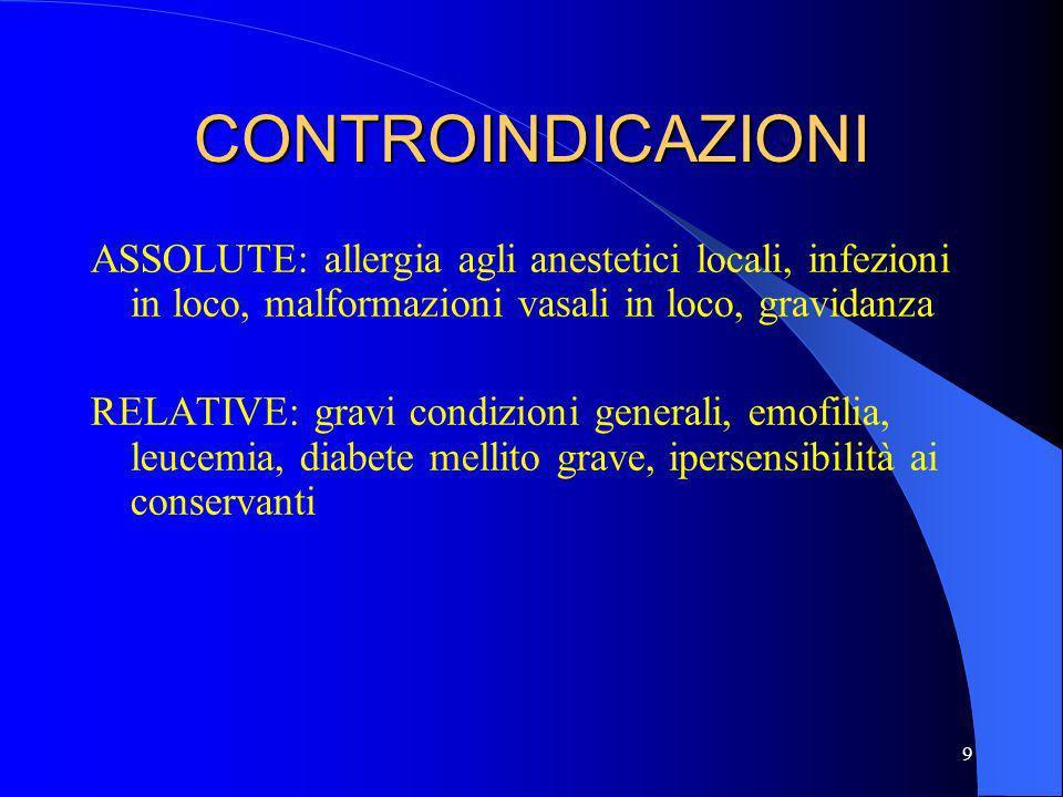 9 CONTROINDICAZIONI ASSOLUTE: allergia agli anestetici locali, infezioni in loco, malformazioni vasali in loco, gravidanza RELATIVE: gravi condizioni