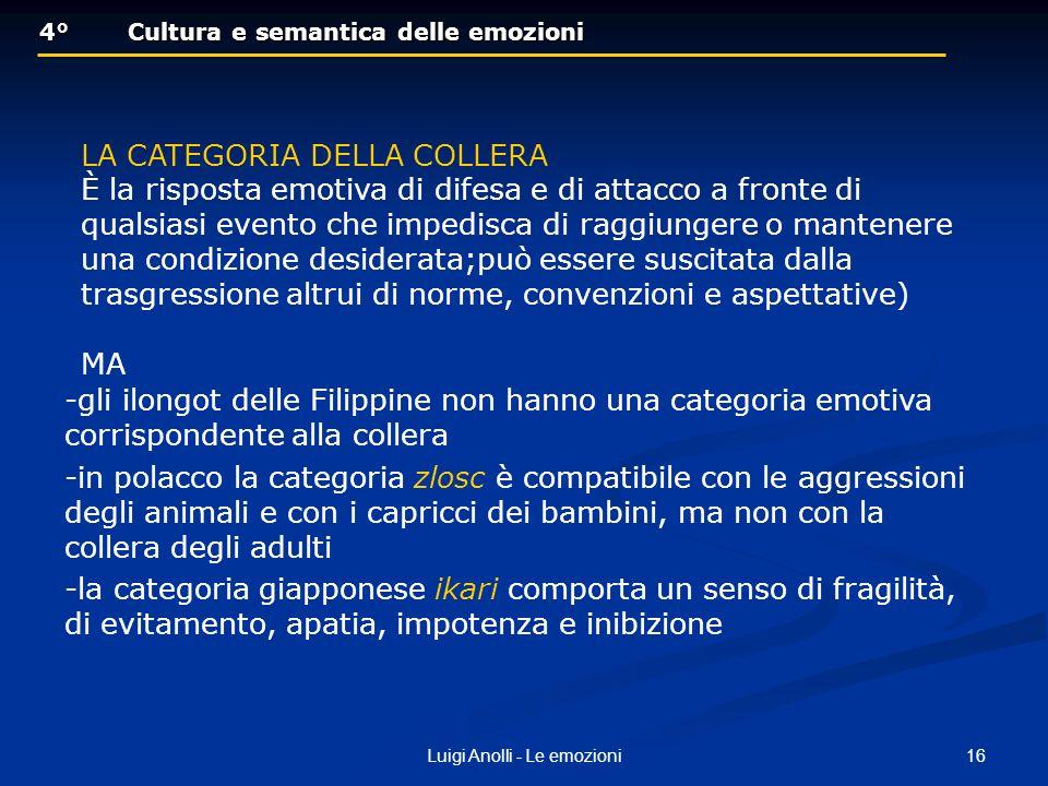 16Luigi Anolli - Le emozioni 4°Cultura e semantica delle emozioni 4°Cultura e semantica delle emozioni LA CATEGORIA DELLA COLLERA È la risposta emotiv