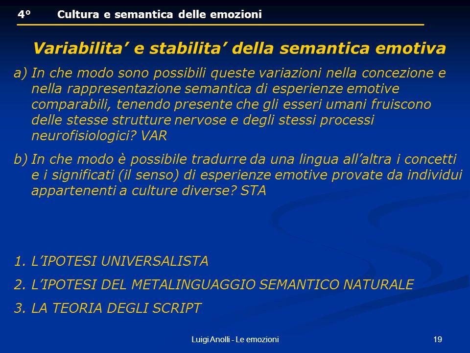 19Luigi Anolli - Le emozioni 4°Cultura e semantica delle emozioni 4°Cultura e semantica delle emozioni Variabilita e stabilita della semantica emotiva